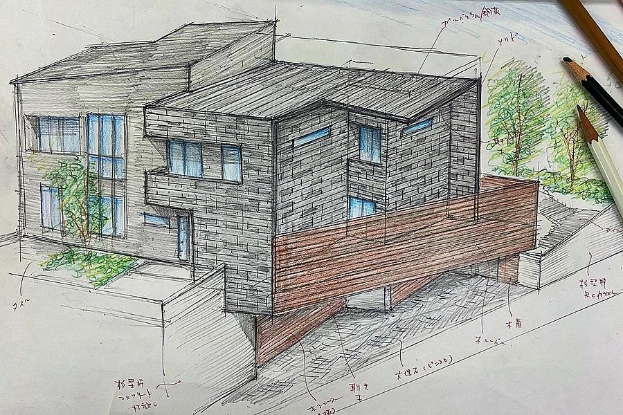 名東区「平和が丘の家」模型製作打合せ